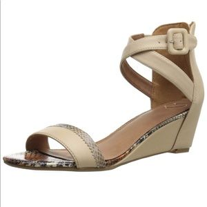 Medeline nude/buff with snakeskin accent wedges